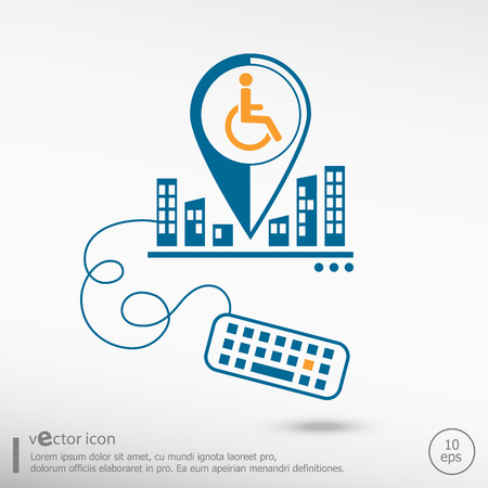 accessible: Disabled Handicap icon and keyboard. Line icons for application development, creative process. Illustration