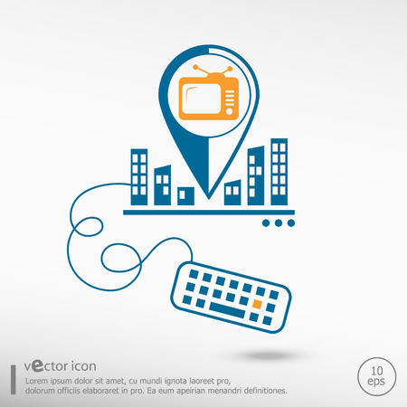 televisor: Televise and keyboard. Line icons for application development, creative process. Illustration