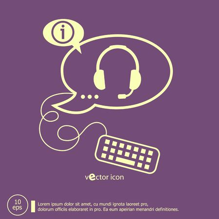 earpieces: Live help sign and keyboard design elements. Line icons for application development, web page coding and programming, creative process Illustration