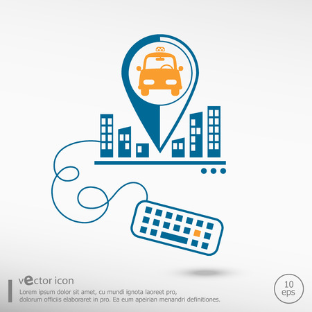 excursions: Taxi Icon and keyboard. Line icons for application development, creative process.