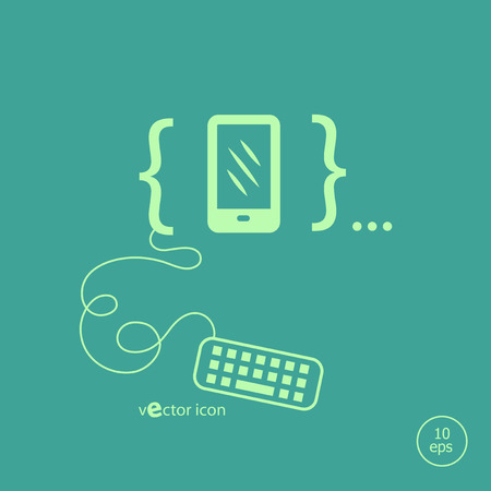 Smartphone and flat design elements. Design concept icons for application development, web page coding and programming,  web design, creative process, social media, seo. Vector