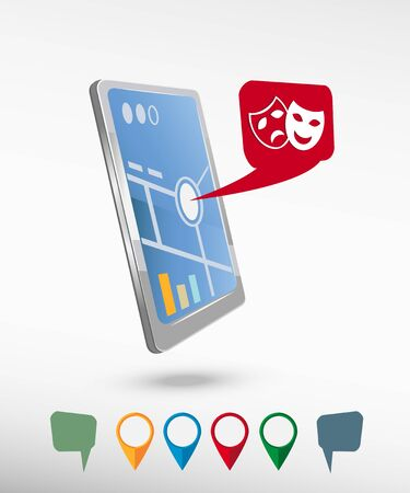 theatre masks: Theatre masks symbols and perspective smartphone vector realistic. Set of bright map pointers for printing, website, presentation element and application mockup.