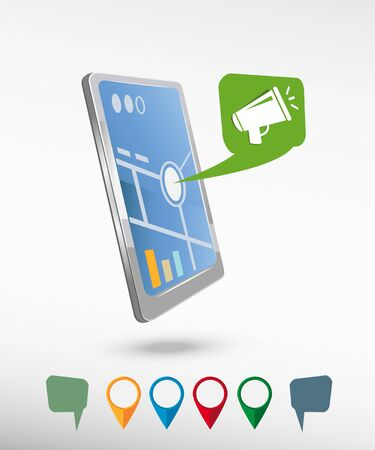 Megaphone icon and perspective smartphone vector realistic. Set of bright map pointers for printing, website, presentation element and application mockup. Vector