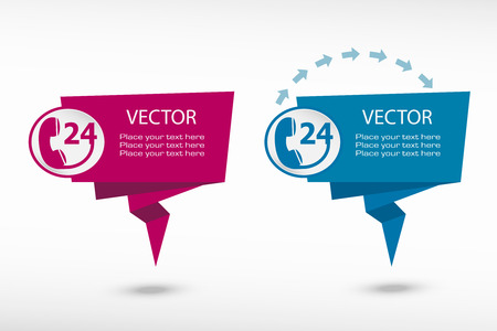 callcenter: Support and service on origami paper speech bubble or web banner, prints. Vector illustration Illustration