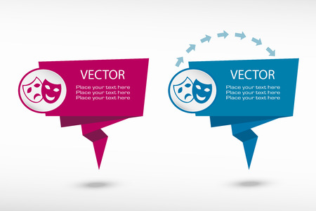 moods: Theatre Masks Symbols on origami paper speech bubble or web banner, prints. Vector illustration