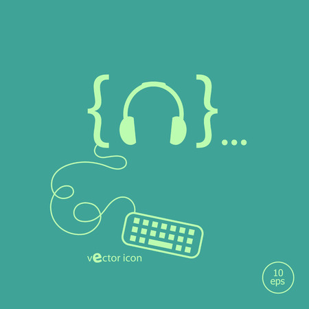 Headphone and flat design elements. Design concept icons for application development, web page coding and programming,  web design, creative process, social media, seo.