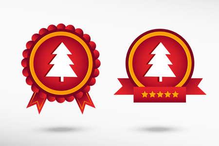 spruce: Spruce pine tree stylish quality guarantee badges. Colorful Promotional Labels Illustration