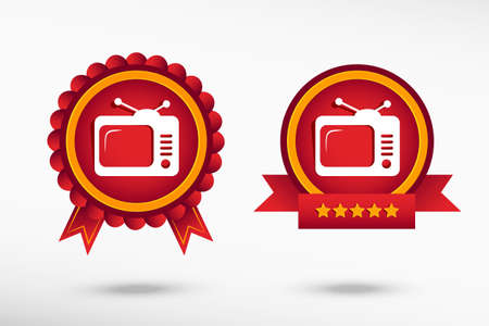 telecast: Television stylish quality guarantee badges. Colorful Promotional Labels