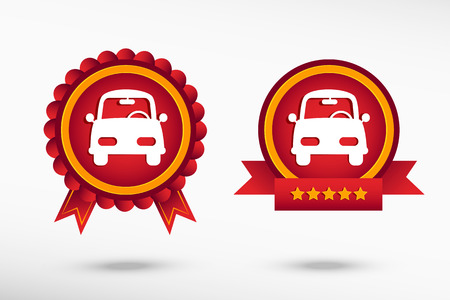 Car stylish quality guarantee badges. Colorful Promotional Labels Vector