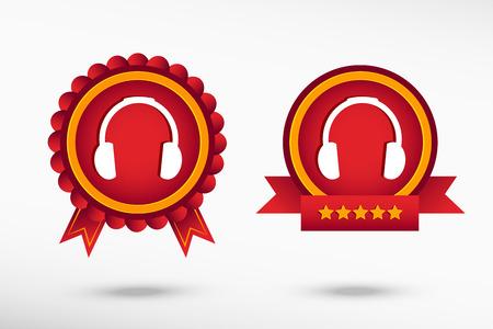 Headphones stylish quality guarantee badges. Colorful Promotional Labels