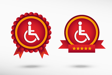 disabled access: Disabled Handicap icon stylish quality guarantee badges. Colorful Promotional Labels