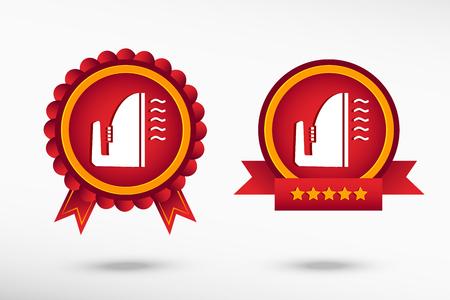smoothing: Smoothing icon stylish quality guarantee badges. Colorful Promotional Labels Illustration