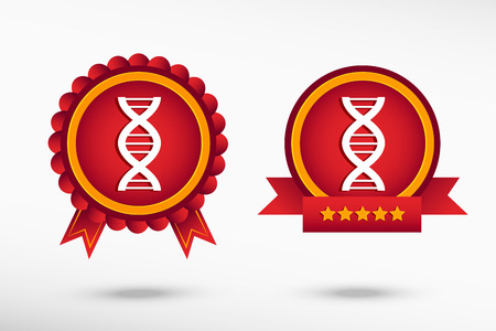 DNA icon stylish quality guarantee badges. Colorful Promotional Labels Vector