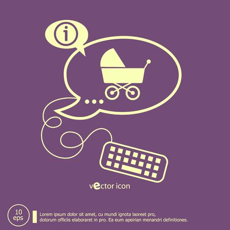 baby development: Baby buggy and keyboard design elements. Line icons for application development, web page coding and programming, creative process