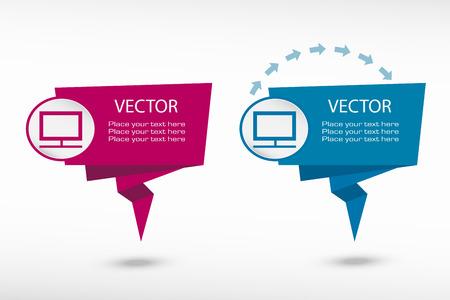 televisor: Monitor on origami paper speech bubble or web banner, prints. Vector illustration Illustration