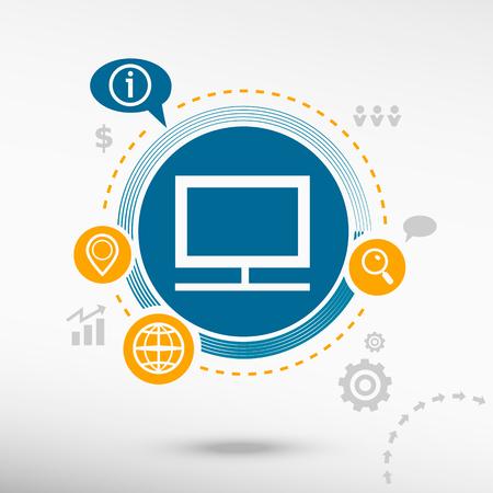 televisor: Monitor and creative design elements. Flat design concept Illustration