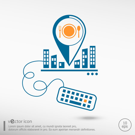 Plate fork and spoon symbol. Line icons for application development on city background Vector