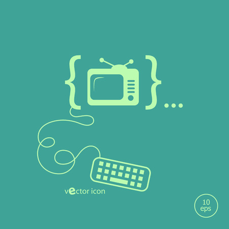 Televise and flat design elements. Design concept icons for application development, web page coding and programming, web design, creative process.