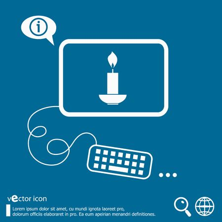 paraffin: Candle and flat design elements. Design concept icons for application development, web page coding and programming, web design, creative process, social media, seo. Illustration