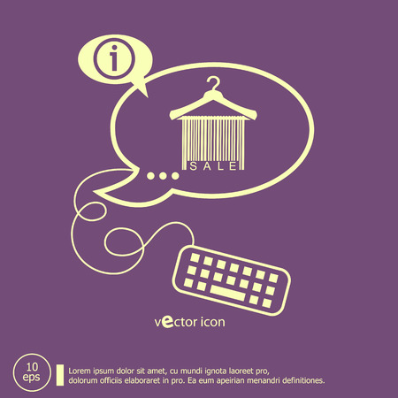 clotheshanger: Sale barcode clothes hanger and keyboard design elements. Line icons for application development, web page coding and programming, creative process