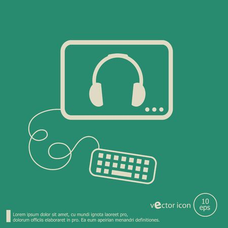 earpieces: Headphone and flat design elements. Line icons for application development, web page coding and programming, web design, creative process, social media, seo.