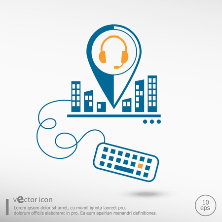 earpieces: Live help sign and keyboard. Line icons for application development, creative process. Illustration