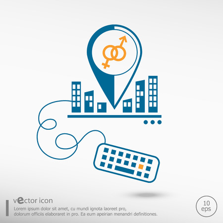 marital: Male and female icon and keyboard. Line icons for application development, creative process. Illustration