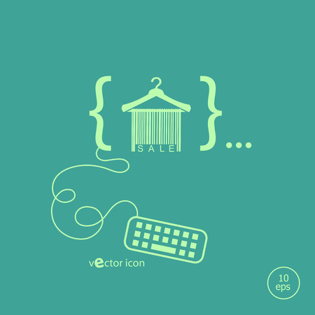 clotheshanger: Sale barcode clothes hanger and flat design elements. Design concept icons for application development, web page coding and programming, web design, creative process, social media, seo. Illustration