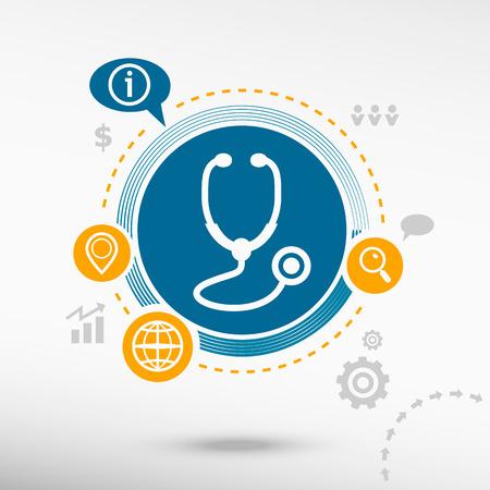 stethoscope: Stethoscope  icon and creative design elements. Flat design concept