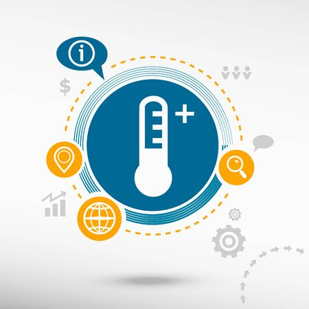 growth hot: Thermometer icon and creative design elements. Flat design concept