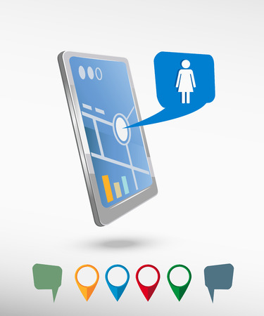 woman smartphone: Woman icon and perspective smartphone vector realistic. Set of bright map pointers for printing, website, presentation element and application mockup. Illustration