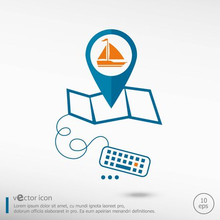 excursions: Sailboat icon and pin on the map. Line icons for application development, creative process.