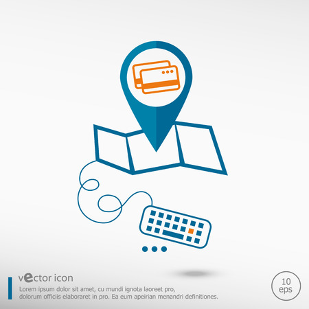 Credit cards sign and pin on the map. Line icons for application development, creative process. Vector