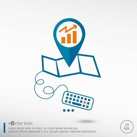 financial position: Business graph design element and pin on the map. Line icons for application development, creative process. Illustration