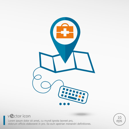 map case: First aid box and pin on the map. Line icons for application development, creative process.