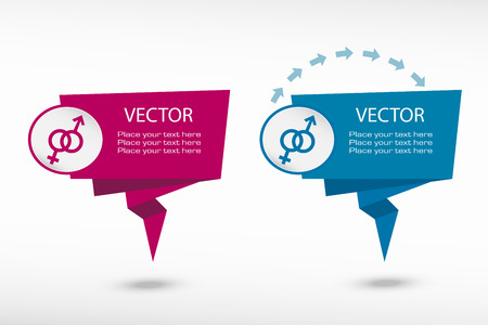 marital: Male and female icon on origami paper speech bubble or web banner, prints. Vector illustration
