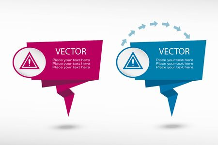 disallowed: Attention caution on origami paper speech bubble or web banner, prints. Vector illustration