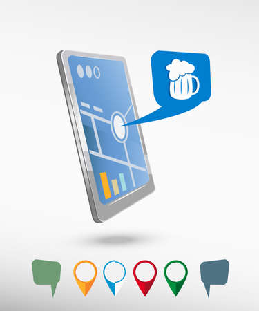 Beer mug icon and perspective smartphone vector realistic. Set of bright map pointers for printing, website, presentation element and application mockup Vector