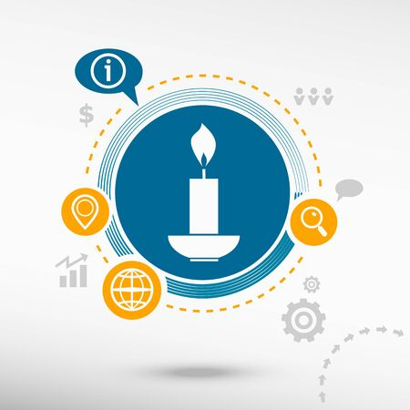 spiritual growth: Candle icon. Creative design elements. Flat design concept