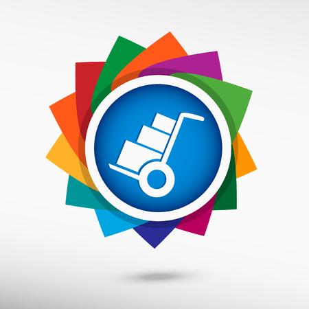 Wheelbarrow for transportation of cargo color icon, vector illustration. Flat design style
