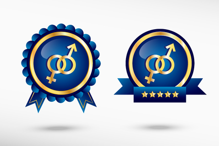Male and female icon stylish quality guarantee badges. Blue colorful promotional labels Vector
