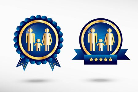 Family icon stylish quality guarantee badges. Blue colorful promotional labels Vector