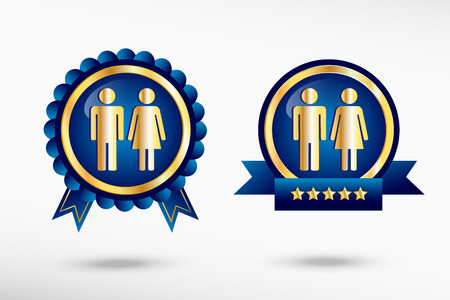Man and woman icon stylish quality guarantee badges. Blue colorful promotional labels Vector