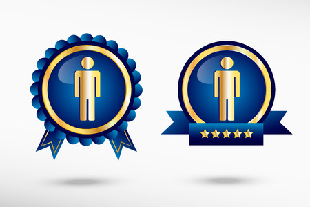 Man icon stylish quality guarantee badges. Blue colorful promotional labels Vector
