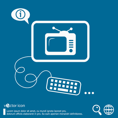 Televise and flat design elements. Design concept icons for application development, web page coding and programming, web design, creative process, social media, seo. Illustration