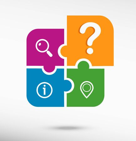smarthone: Question mark icon on colorful jigsaw puzzle