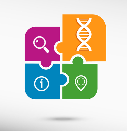 DNA icon on colorful jigsaw puzzle Vector