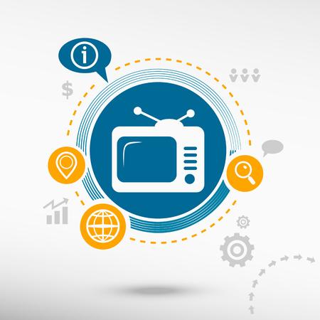 telecast: Televise. Creative design elements. Flat design concept
