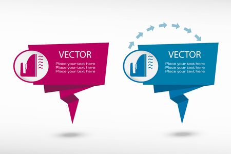smoothing: Smoothing icon on origami paper speech bubble or web banner, prints. Vector illustration
