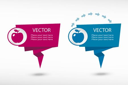 Apple Icon on origami paper speech bubble or web banner, prints. Vector illustration Vector